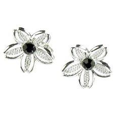 Sarah Coventry Vintage Silvertone Flower Black Beauty Earrings