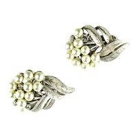 Trifari Leaf and Berry Design Crystal Rhinestone Imitation Pearl Vintage Earrings