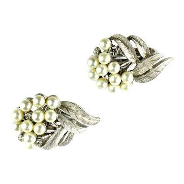 Trifari Leaf and Berry Design Crystal Rhinestone Imitation Pearl Vintage Earrings