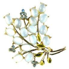 Pale Blue Moonglow Cabochon Green Leaf Enamel Flower Spray Vintage Brooch