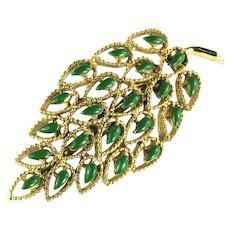 Vintage Gerrys Deep Green Enameled Leaf Brooch