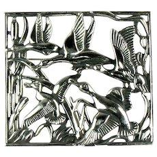 Vintage Silvertone Geese in Flight Cattails Framed Brooch