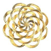 Trifari Textured Ribbon Swirls Vintage Brooch