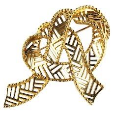 Swirling Goldtone Cutout Ribbon Vintage Brooch