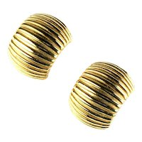 Givenchy Half Hoop Style Line Textured Goldtone Earrings