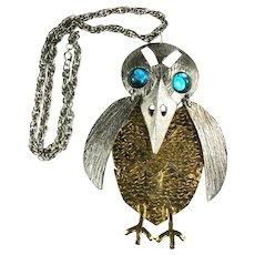Huge Silvertone Goldtone Aqua Cabochon Textured Metal Bird Pendant Necklace
