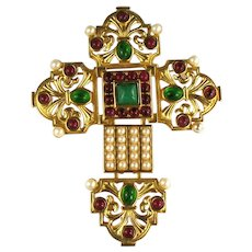 Vintage Elizabeth Taylor Avon Katharina Red Green White Articulated Cross Brooch Pendant