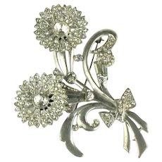 Vintage 1930s Silvertone Pinwheel Flowers Bouquet Brooch