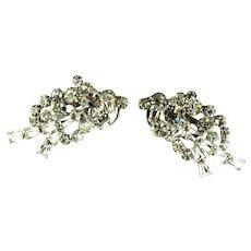 Crystal Rhinestone Tapered Baguette Rhinestone Overly Vintage Earrings