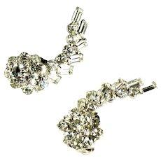 Crystal Rhinestone Baguette Chaton Ear Climber Flower Overlay Vintage Earrings