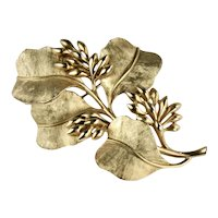 Trifari Leaf Bud Textured Goldtone Stylized Dogwood Brooch