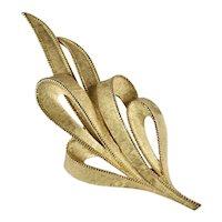 Trifari Vintage Goldtone Textured Rope Edge Ribbons Flowing Brooch