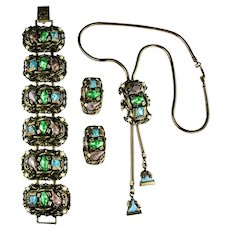 Colorful Green Blue Purple Cabochons Goldtone Vintage Selro Bolo Necklace, Bracelet, Earrings Set