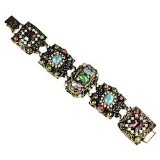 Selro Shades of Turquoise Blue Green Red Pearl Purple Cabochon Rhinestone Huge Bracelet