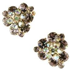 DeLizza and Elster Juliana Lilac Aurora Borealis Rhinestone Flower Motif Earrings