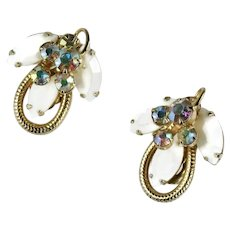 DeLizza and Elster Juliana Goldtone White Marquis AB Vintage Earrings
