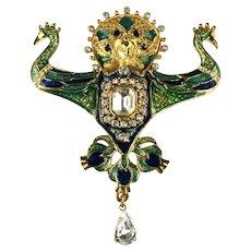 Blue Green Enamel Goldtone Crystal Rhinestone Goddess Deity Huge Brooch