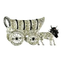 Pave Rhinestone Black Enamel Conestoga Covered Wagon Oxen Drawn Vintage Brooch