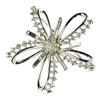 Trifari Vintage Crystal Rhinestone Star Flower 1951 Brooch