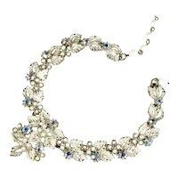 Art Signed Vintage White Enameled Aurora Borealis Rhinestone Necklace