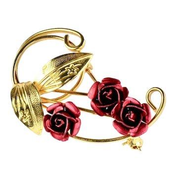 Deep Red Metal Red Enamel Roses Swirling Leaves Vintage Brooch