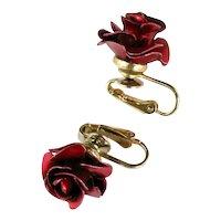 Deep Red Enamel Metal Rose Vintage Earrings