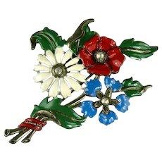 Red Blue White Green Enamel Flowers Leaves Bouquet Vintage Brooch