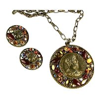 Art Signed Vintage Roman Coin Motif Shades of Topaz Rhinestone Huge Pendant and Earrings