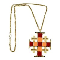 Art Mode Signed Red Orange Enamel Jerusalem Cross Vintage Pendant Necklace