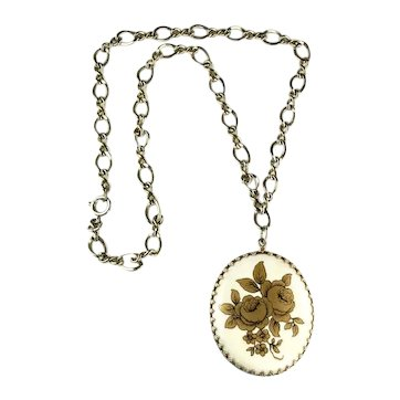 Goldtone Vintage Flower Transfer Design White Oval Glass Pendant Necklace