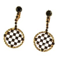 Vintage Shades of Topaz Rhinestone Dangle Pendant Style Earrings
