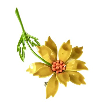 Yellow Orange Green Enameled Vintage Flower Brooch by JJ