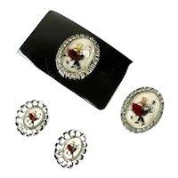 Vintage Reverse Painted Square Dance Couple Belt Buckle, Bolo Tie Slide and Earrings Set