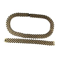 Vintage Goldtone Brickwork Necklace and Bracelet Set