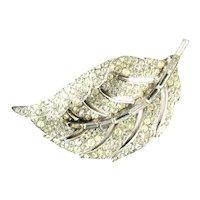 Trifari Pave Crystal Rhinestone Curled Leaf Brooch