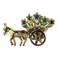 Vintage Donkey Pulling Flower Cart Colorful Rhinestone Brooch