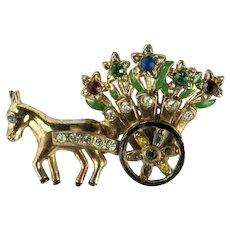 Vintage Donkey Pulling Flower Cart Colorful Rhinestone Brooch