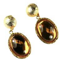 Vintage Huge Topaz Colored Glass Cabochon Dangle Pendant Earrings