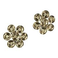 Modernist Round Orbs Crystal Rhinestone Vintage Earrings