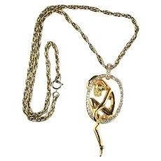 Goldtone Nude Female Figure in Rhinestone Loop Vintage Pendant Necklace