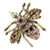 Vintage Rhinestone Bee Scatter Pin