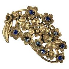 Vintage Goldtone Blue Rhinestone Flower Motif Dress Clip