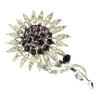 Lisner Sunflower Flower Purple Crystal Rhinestone Vintage Brooch
