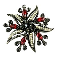 Florenza Red Black Rhinestone Imitation Pearl Starfish Vintage Brooch