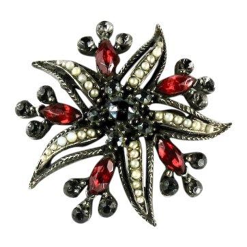 Florenza Red Black Rhinestone Imitation Pearl Starfish Vintage Brooch