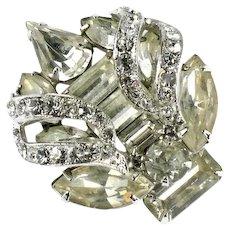 Eisenberg Crystal Pear Baguette Marquis Chaton Rhinestones Torch Vintage Brooch