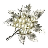 Trifari Silvertone Cutout Leaves Imitation Pearl Crystal Rhinestone Dew Drops Brooch