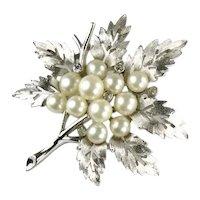 Trifari Silvertone Cutout Leaves Imitation Pearl Crystal Rhinestone Dew Drops Brooch