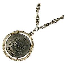 Vintage Goldtone Gemini Astrology Zodiac Sign Pendant Necklace