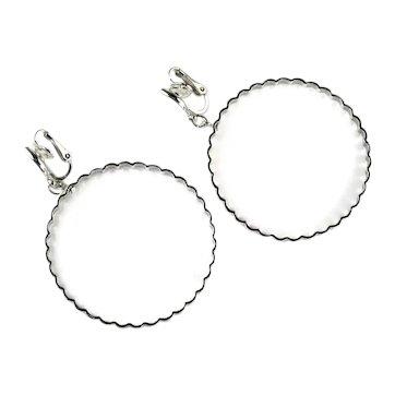 Trifari Vintage Silvertone Round Hoop Earrings